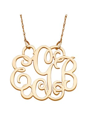 268e0640f0c3 Product Image Personalized 10kt Yellow Gold Fancy 3-Initial Monogram  Necklace