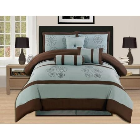 7 piezas marrón bordado azul Aqua consolador Set bolsa cama Queen + WPM en Veo y Compro