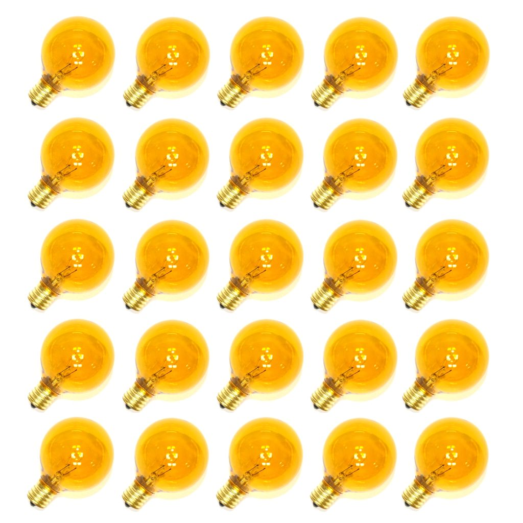 Sival 70178 - G50 Intermediate Screw Base Transparent Yellow (25 pack) Christmas Light Bulbs