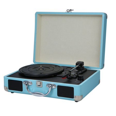 Turntable With Speakers Vintage Phonograph Record Player Stereo Sound Blue -type - image 4 de 7
