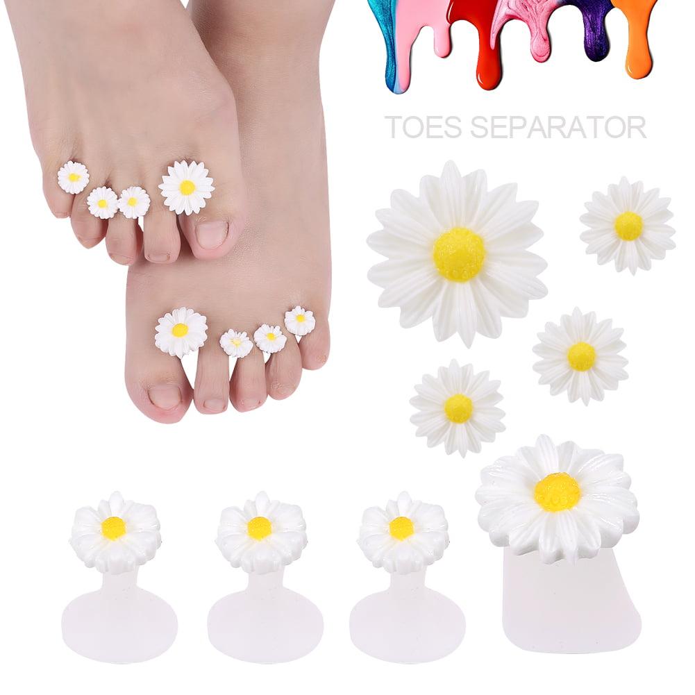 Yosoo 8pcs/set Silicone Toe Separators Foot Toe Spacers Toes Orthotics Daisy Flower Pedicure Tools, Daisy Flower Toe Separator, Toes Orthotics