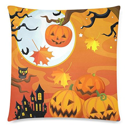 Halloween Night Moon (ZKGK Cartoon Happy Halloween Pumpkin Home Decor , Owl Moon Night Pillowcase 18 x 18 Inches Two Sides,Soft Pillow Cover Case Shams)