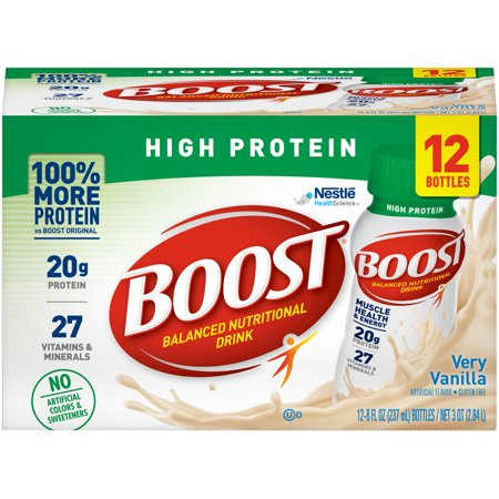 Boost High Protein Complete Nutritional Drink, Very Vanilla, 8 fl oz Bottle, 12 (Cheap High Calorie Foods For Gaining Weight)
