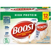 Boost High Protein Ready to Drink Nutritional Drink, Very Vanilla, 12 - 8 FL OZ Bottles