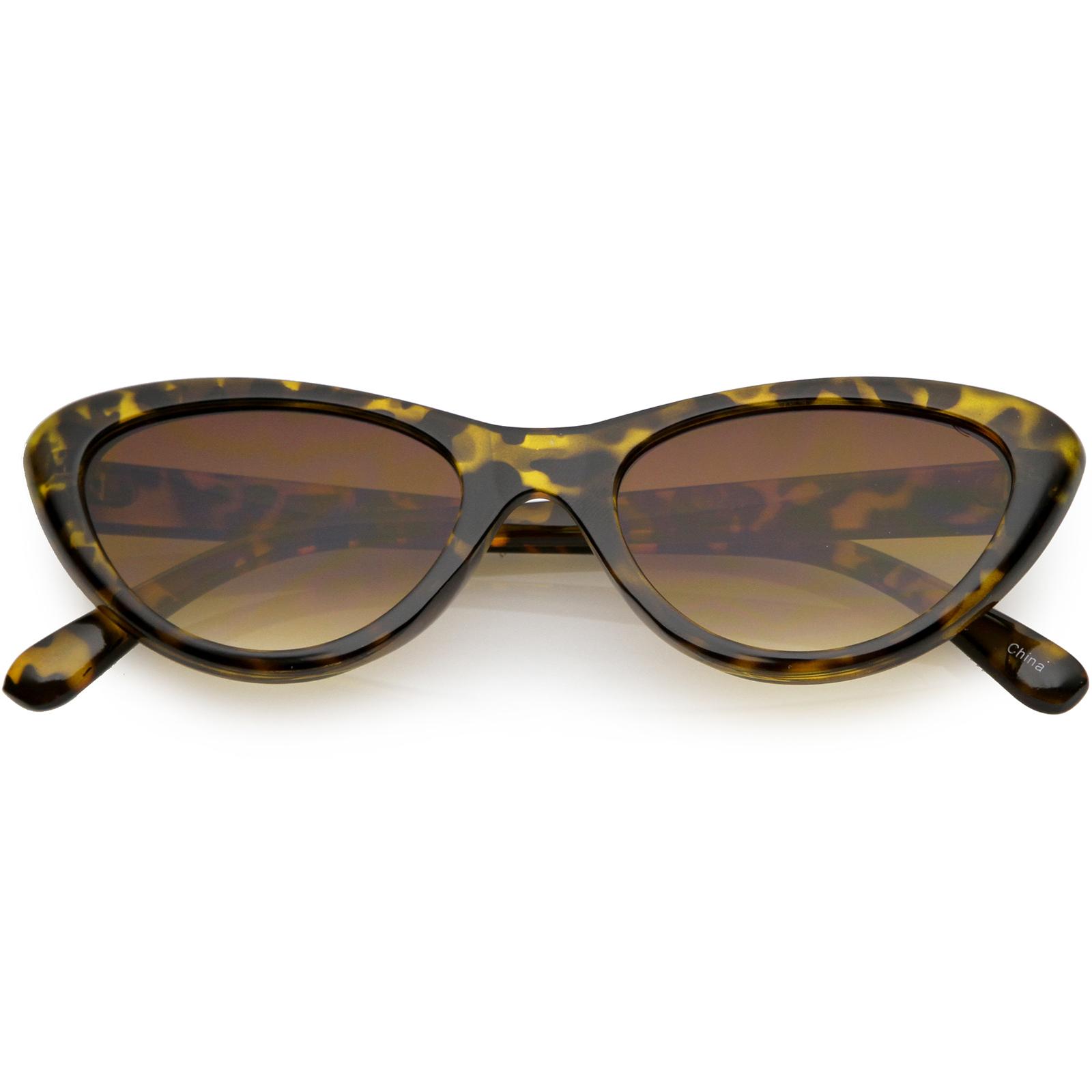 sunglassLA - Small Retro Cat Eye Sunglasses Neutral Colored Lens 49mm - 49mm