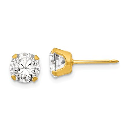 Inverness 24k Plated 7mm CZ Earrings in