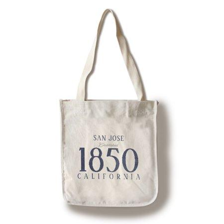 California Tote Bag (San Jose, California - Established Date (Blue) - Lantern Press Artwork (100% Cotton Tote Bag -)