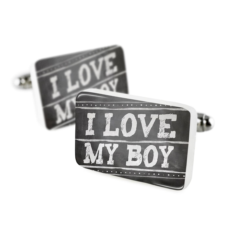 Cufflinks Chalkboard with I Love my BoyPorcelain Ceramic NEONBLOND