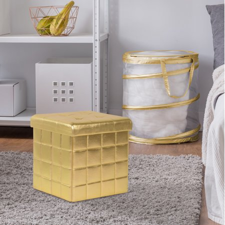 Mainstays Collapsible Storage Ottoman, Gold Dazzle ()
