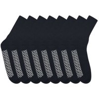 Nobles Assorted Diabetic Anti Skid/ No Slip Hospital Gripper Socks, Great for adults, men, women. Designed for medical hospital patients but great for everyone (Size 10-13 - 9 Pairs Black)