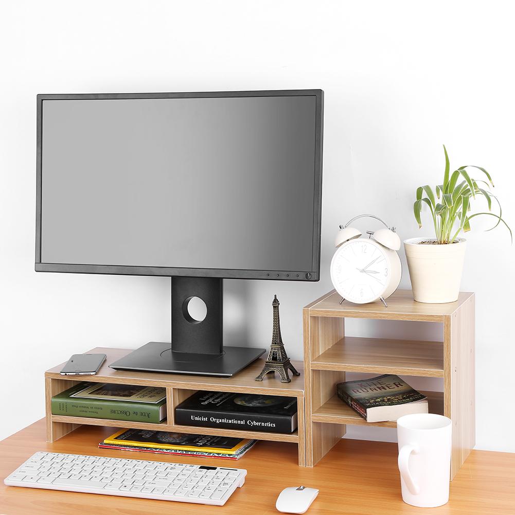Monitor Riser Stand,Computer Laptop Desktop Storage Organizer + 3-Layer Shelf(Light Walnut)