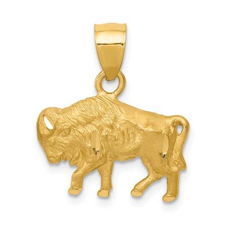 14K White Gold Diamond-Cut Buffalo Pendant 19mm x 17mm