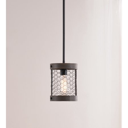 Cozy Wood and Oil Rubbed Bronze 1 Light Mini Pendant (Ribbed Wood)