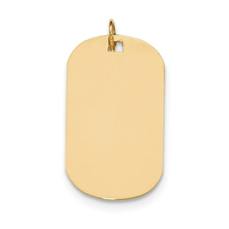 14k Yellow Gold Plain .011 Gauge Engravable Dog Tag Disc Charm