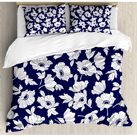 Navy And White King Size Duvet Cover Set Botanical Arrangement With Poppies In Simple