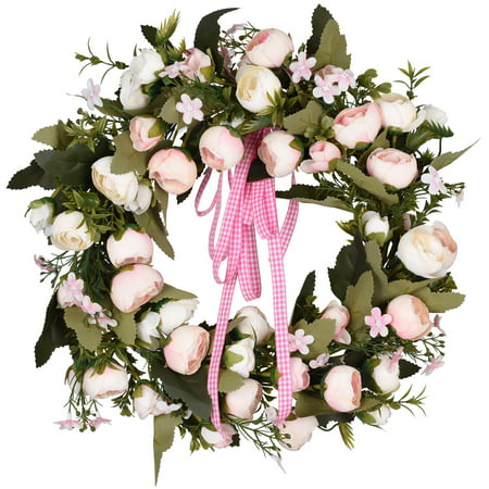 """14"""" Rose Wreath Silk Spring Front Door Wreath,Handcrafted Rose Floral Wreath with Pink and White Roses for Wedding Front Door Wall Party Home Decor - Silk Flower Wreaths"""