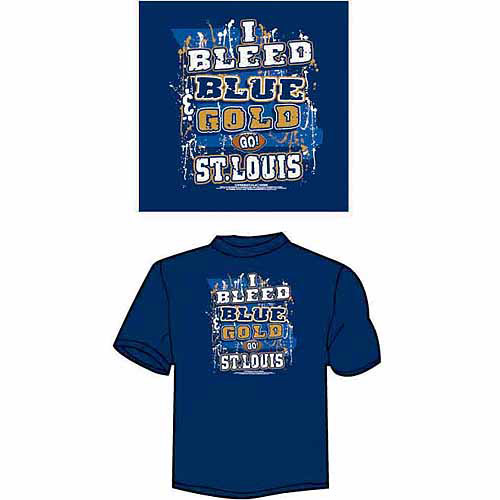 "St. Louis Football ""I Bleed Blue and Gold, Go St. Louis"" T-Shirt, Blue"
