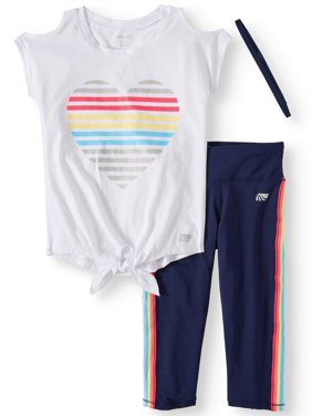 fac0a7dac0ed Product Image Cold Shoulder Top and Rainbow Stripe Performance Legging