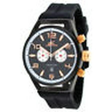 Adee Kaye AK7232-MIPRG Men's Silicone Strap Black Dial Chronograph (Adee Kaye Mens Strap)