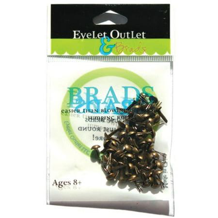 Set Eyelet Brads (Eyelet Outlet Round Brads 4mm 70/Pkg-Brushed)