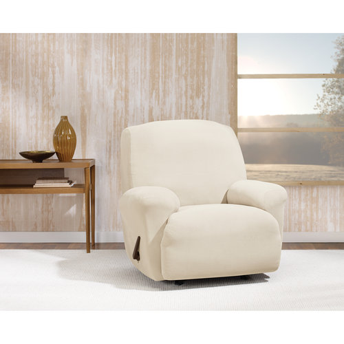 Stretch Morgan 1-Piece Recliner Furniture Cover, Ivory
