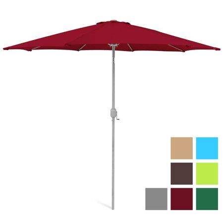 Best Choice Products 9ft Outdoor Market Patio Umbrella w/ Crank Tilt Adjustment, Wind Vent, 1.5in Diameter Pole - Red Diameter Wooden Market Umbrella