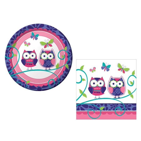 Owl Pal 16 Guest Party Supply Bundle (2 Items) - Dessert Plates & Napkins - Owl Party Supplies