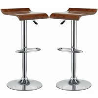 Modway Bentwood Bar Stool with Chrome Steel Frame, Set of 2 in Oak