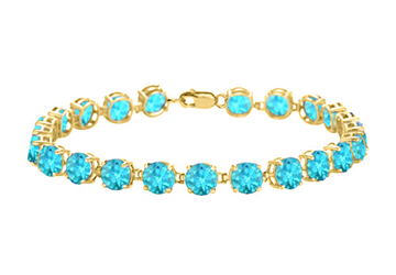 14K Yellow Gold Prong Set Round Blue Topaz Bracelet 12.00 CT TGW December Birthstone Jewelry by Love Bright