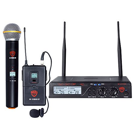 Nady U-2100 Dual Combo HT-LT 200-Channel UHF Wireless Handheld and Lavalier Microphone System