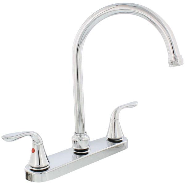 Aquaplumb R 1558030 Chrome Plated 2 Handle Gooseneck Kitchen Faucet