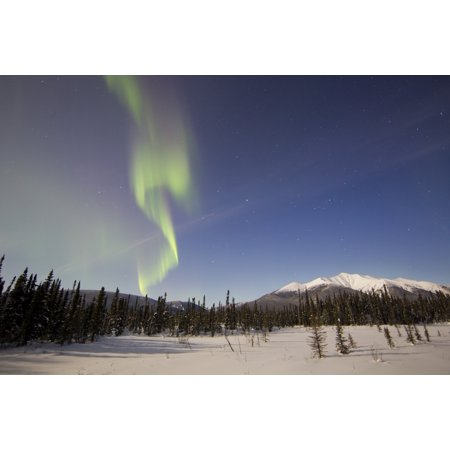 Aurora Borealis Over Mountain Near Mayo Yukon Canada Canvas Art   Joseph Bradleystocktrek Images  18 X 12