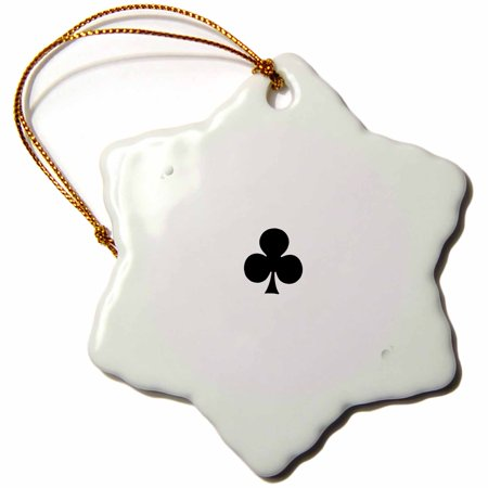 3dRose Ace of Clubs playing card - Black club suit - Gifts for cards game players of poker bridge games, Snowflake Ornament, Porcelain, 3-inch Deal