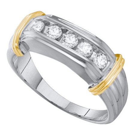 10K White Gold Two Tone 0.50ctw Stunning Channel Diamond Mens 5 Stone Band Ring