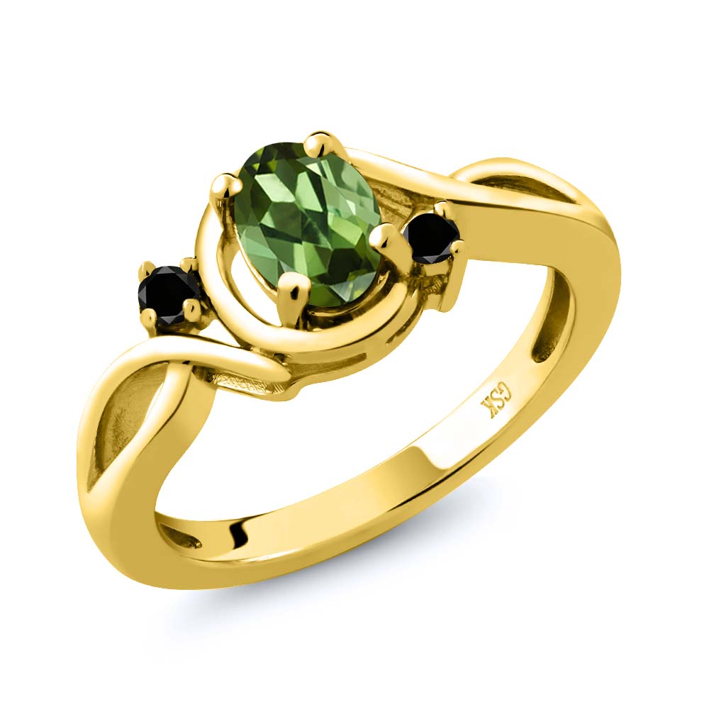 0.77 Ct Oval Green Tourmaline Black Diamond 18K Yellow Gold Plated Silver Ring by