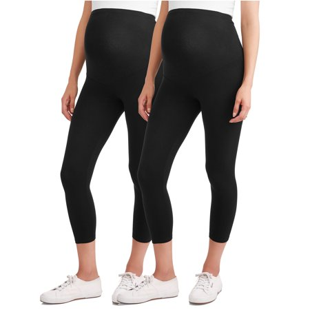 Maternity Over Belly Capri Leggings, 2-Pack