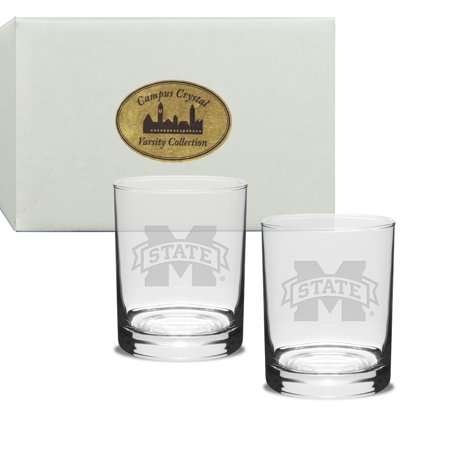 Mississippi State Bulldogs Deep Etched Double Old Fashion Glass Set of (Etch Glass Antique)