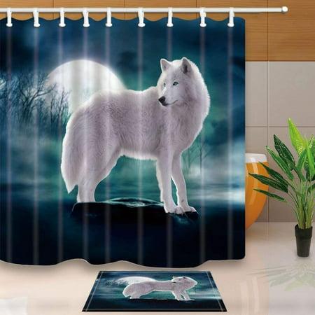 ARTJIA Safari Animal Decor Wild Animal White Wolf Standing on Stone Against Full Moon Backdrop Shower Curtain 66x72 inches with Floor Doormat Bath Rugs 15.7x23.6 inches](Safari Decor Ideas)