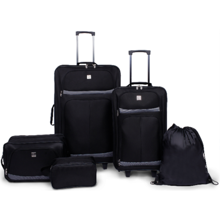 Protege 5 Piece 2-Wheel Luggage Value Set (2 Piece Stackable Luggage Set)