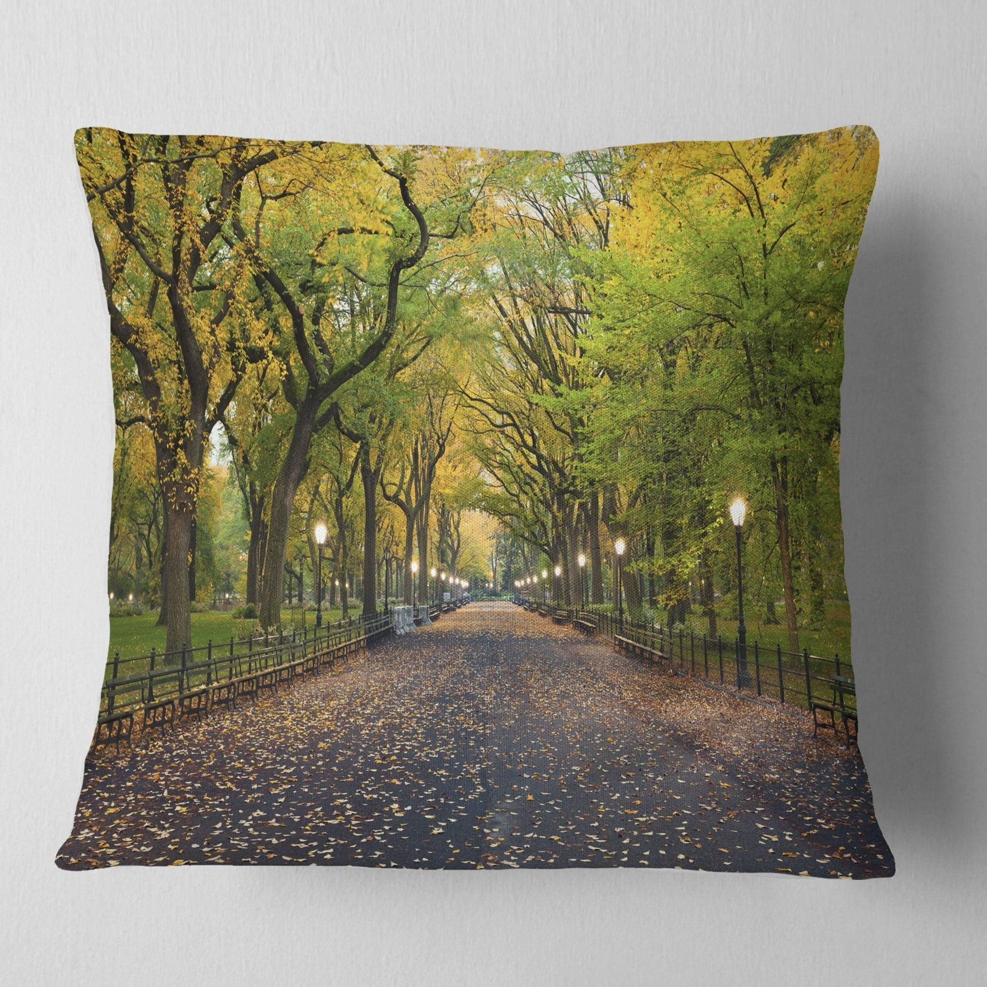 Design Art Designart The Mall Area In Central Park Landscape Printed Throw Pillow Walmart Com Walmart Com