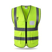 Reflective Fluorescent Vest Multiple Pockets Safety Protective Clothing Waistcoat for Outdoor Night Riding