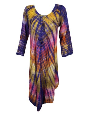 ca96259ef5f Product Image Mogul Womens Hippie Tie Dye Embroidered Caftan Dress Boho  Chic Long Colorful Rayon Beach Music Festival