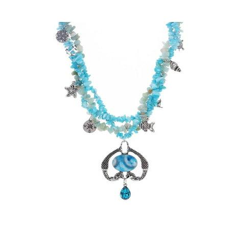 Novadab Nautical Twin Mermaid Amazonite Necklace with Aqua Colored (Aqua Colored Stone)
