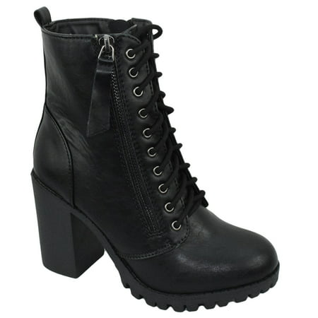 Malia Black Soda Riding Booties Women Chunky High Heel Combat Ankle Boots Army Military Desert Combat Uniform Boots