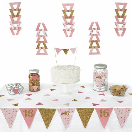 Sweet 16 - Triangle 16th Birthday Party Decoration Kit - 72 Pieces - Sweet Sixteen Party Decorations