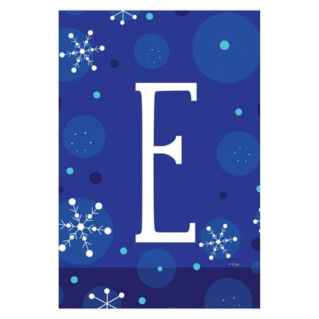 Toland Home Garden Winter Snowflakes Monogram Flag