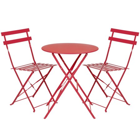 Bistro Set Outdoor Furniture (Best Choice Products Metal 3-Piece Portable Folding Outdoor Bistro Set, Red )