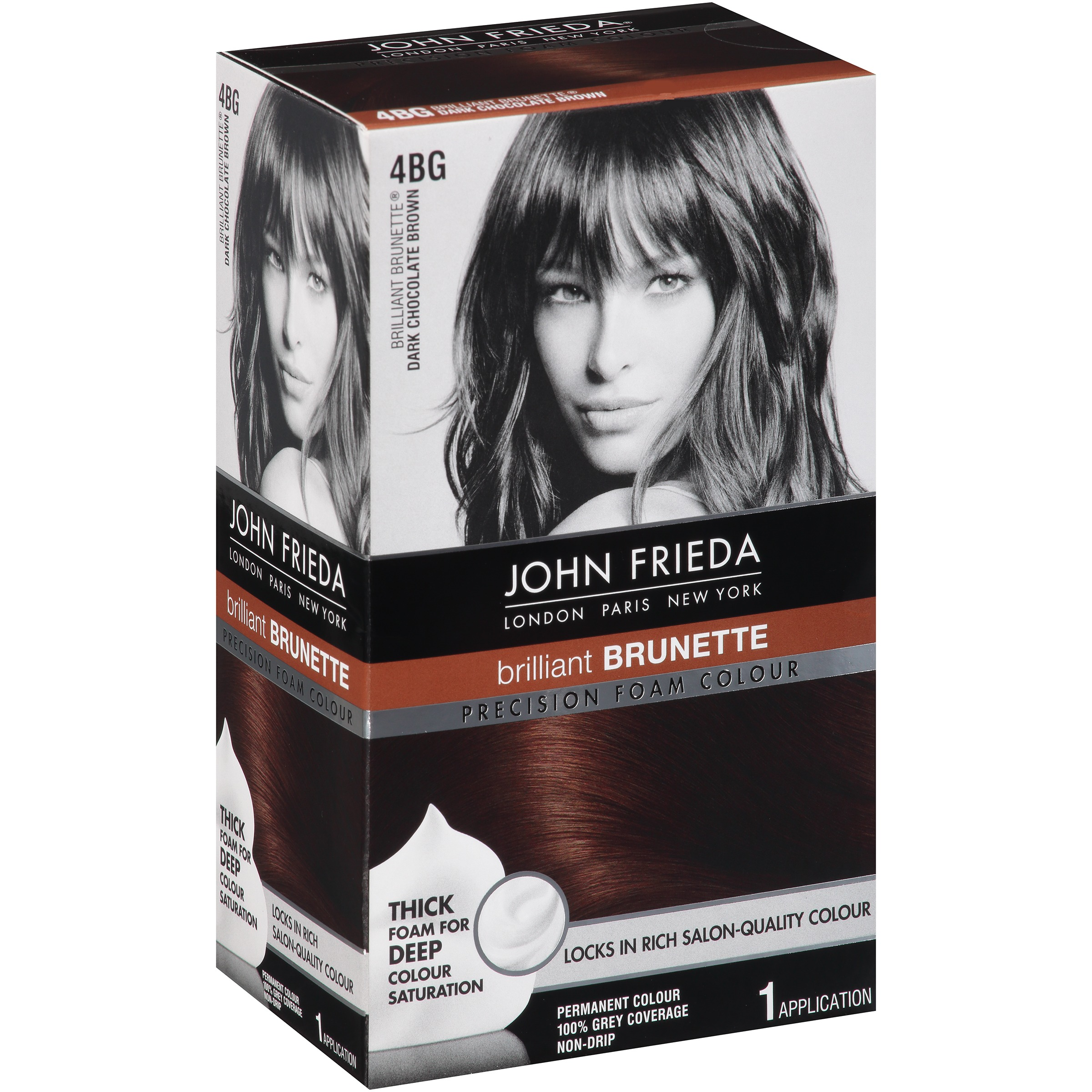 John Frieda Brilliant Brunette 4BG Dark Chocolate Brown Permanent Colour, 1 application