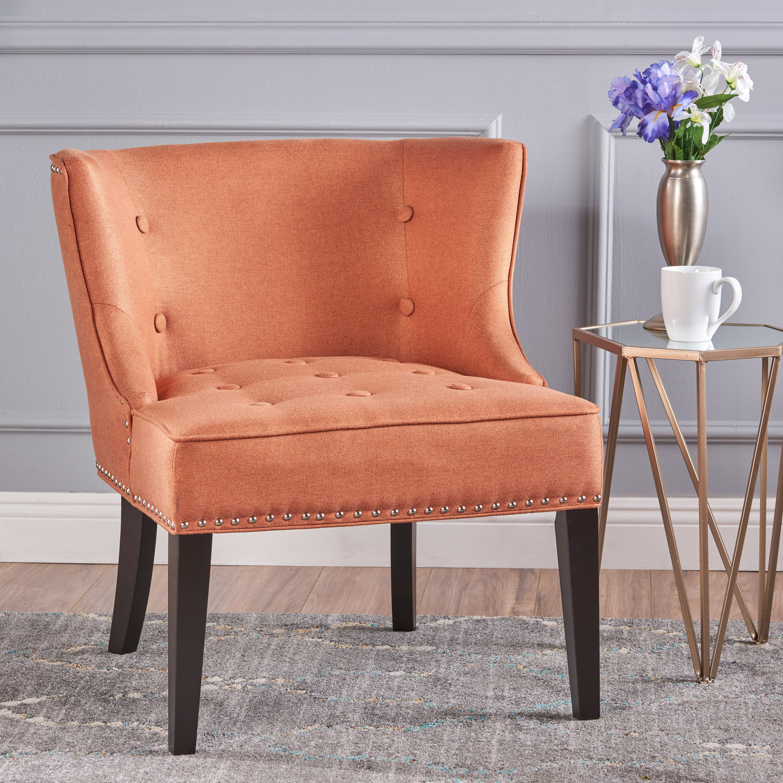 Noble House Willa Fabric Occasional Wing Back Chair, Orange