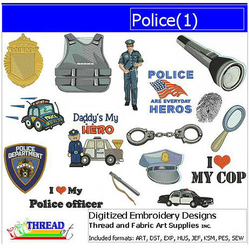 ThreadArt Machine Embroidery Designs Police(1) CD
